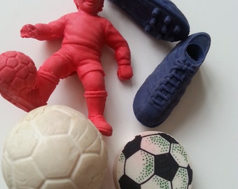 5, Vintage, 80s, Novelty erasers,rubbers,gommi, football, scoccer, ball, shoes, sport,1980s, by NewellJewels on etsy