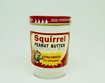Vintage; Empty; Peanut Butter Jar; Squirrel; With Lid; Approx. 4.5 inches (h) x 3.25 inches (w);