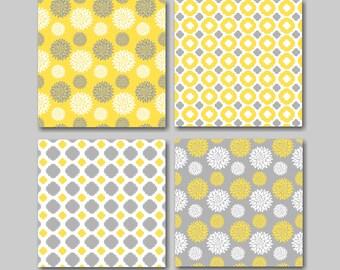 Yellow Gray Wall Art,Yellow Gray Floral Wall Art,Gray Yellow Wall Art,Yellow Gray Bathroom,Yellow Gray Decor,Modern Wall Art-12x12 UNFRAMED