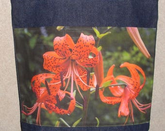 New Handmade Turks Cap Orange Lily Flower Floral Ozark Original Photograph Photo Large Denim Tote Bag