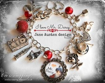"Jane Austen charms bracelet ""I love MR Darcy"" fan silver charms gift Pride and Prejudice novel"