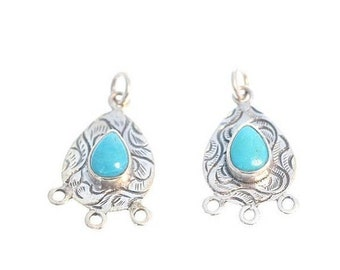 25% Off Earrings : ) SLEEPING BEAUTY TURQUOISE Earring Components Set of 2 New World Gems