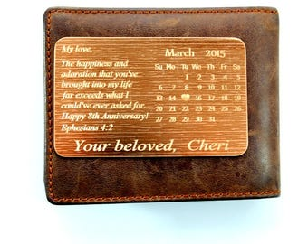 Wallet Insert Bronze Card - Personalized Hand Stamped Metal - Gift Husband Boyfriend 8 Eight Year Anniversary, Anniversary, Calendar