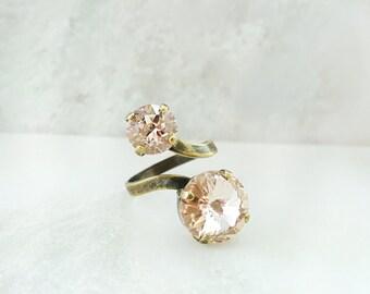 Light Pink Ring - Swarovski Ring Pink - Blush Crystal Ring - Crystal Statement Ring - Bronze Twist Ring - Blush Pink Bridal Jewelry R5041