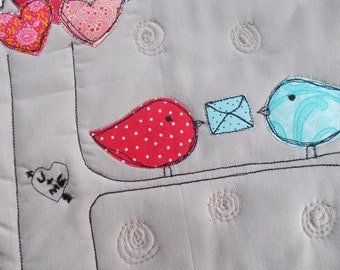 Hearts and Love Birds  Quilted  Wall Hanging