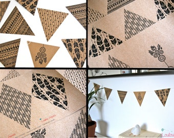 Garland Kit arrows - Boho Style - recycled Kraft paper flags