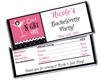 Bachelorette Party Favor Hershey's Candy bar Wrapper & Foil Last Night Out