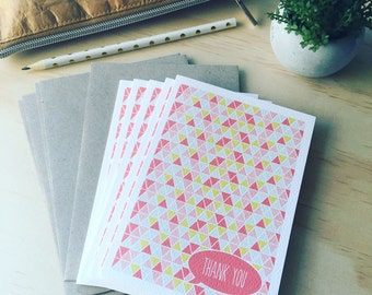 Thank You Card Pack | Thank You Cards | Card Set | Geometric Triangles Pink | Set of 5 Cards | 5P009 | Geometric Cards | Card Pack