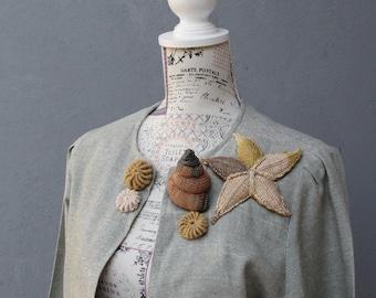 Sand and Shells Jacket Vintage Embellished Beach Jacket size medium