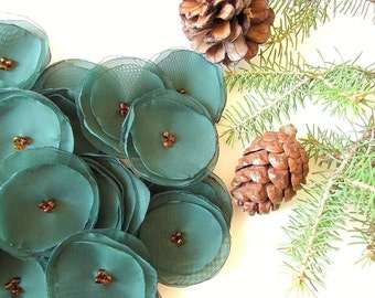 Handmade sheer voile flower appliques (15pcs)- FOREST GREEN PETALS