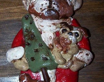 Folk Art English Bulldog Dog Christmas Santa Claus Bakers Clay Ornament Ooak