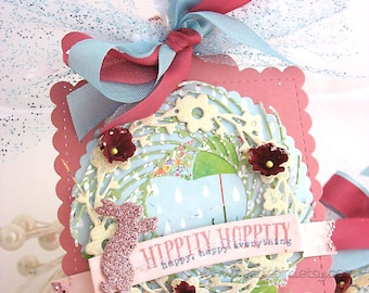 Shabby Chic Spring Wreath Bunny Arty Gift Tags~Blue Tulle~set of two~Easter basket tags~Bunny gift tag~hang tag~rose pink~aqua blue~burgundy