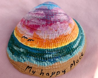 "Painted clam shell ""My Happy Place"""