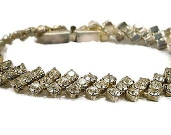 Vintage Clear Rhinestone Bracelet / Art Deco Design  / 1940's Rhinestone Bracelet / Bridal Bracelet