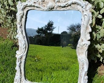 Shabby Chic Vintage Wall Mirror, Painted Mirror, Rectangular Mirror, Ornate Mirror, Old Mirror, Wedding Prop
