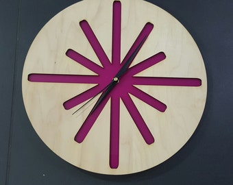 Starburst Clock - Timber and perspex