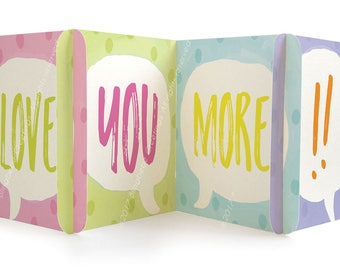 LOVE YOU MORE Valentine- Love Greeting Card -  CARDzees, upcyle this unique, collectible birthday card, zig zag, modular greeting card
