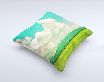 The Green Vintage Field Scene Pillow  ink-Fuzed Decorative Throw Pillow