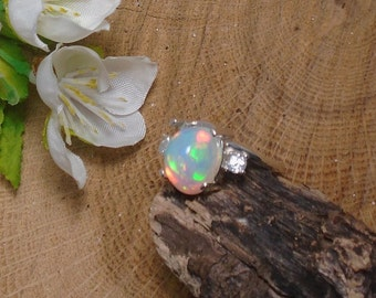 Sky Blue Ethiopian Fire Opal 2 Birthstone Accent Gems Ring, Solid Sterling Silver, 2.40 Cts 10.5 x 9 mm Natural AAA+++ Ethiopian Opal