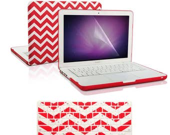 """3 in 1 Chevron Series Red Hard Case Cover and Keyboard Cover with Screen Protector for Macbook White 13"""" Model A1342"""