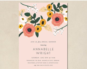 bridal shower invitation - floral bridal shower - hand illustrated - birth announcements - simple - DIY - custom invite - digital printable