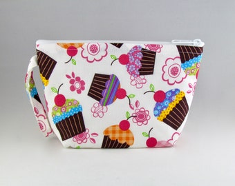 Cupcakes and Flowers Makeup Bag - Accessory - Cosmetic Bag - Pouch - Toiletry Bag - Gift
