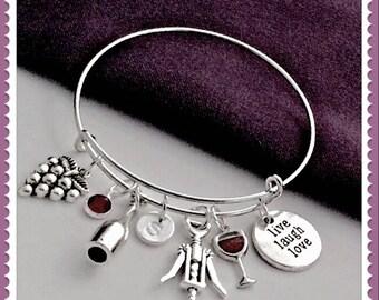 Wine Charm Bracelet, Wine Bangle Jewelry, Wine Gifts, Women's Personalized Wine Bracelet, Birthstone Wine Bracelet, Red Wine Bangle