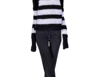 ELENPRIV hand-knitted black and white stripes oversize sweater for PashaPasha dolls