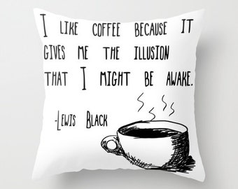 Pillow Lewis Black Coffee Quote, Topography Sketch Home Decor Pillow Cover 18x18