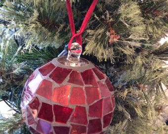 Round Red Glass Mosaic Christmas Ornament Holiday