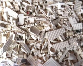 1Lb WHITE Lego Blocks, parts & Pieces BULK LOT!