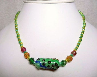 Green Lampwork Beaded Necklace With Green, Yellow And Red Support Beads - Item 1106 N