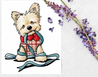 ORIGINAL Drawing Terrier Dog Art Illustration Ribbon