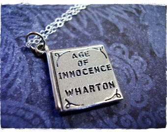 Age of Innocence Book Necklace - Sterling Silver Age of Innocence Book Charm on a Delicate Sterling Silver Cable Chain or Charm Only