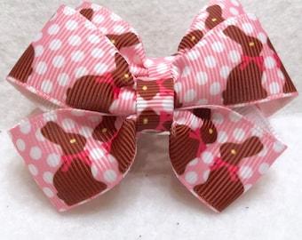 Girly Chocolate Bunny Bow Set