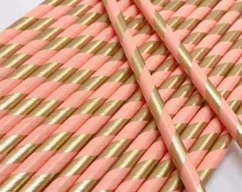 Pink and Gold Straws, Gold Foil Straws, Pink and Gold Party Decor, Gold Party Decor, Pink and Gold Baby Decor, Pink and Gold Bridal Shower