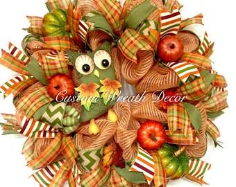Fall Owl Wreath, Fall Wreath, Owl Wreath, Moss Green Orange Fall Wreath, Owl Deco Mesh Wreath, Fall Deco Mesh Wreath, Autumn Wreath