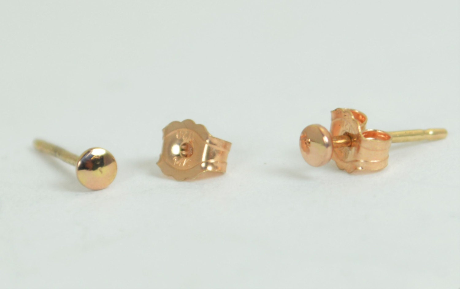 Tiny Rose Gold Earrings, Dot Earrings, Rose Gold Earrings,14k Gold ...