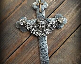 STUNNING OOAK Assemblage Soldered Vintage Cross Necklace