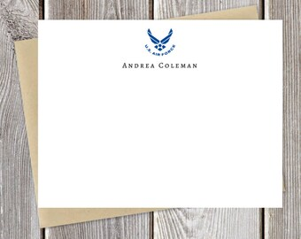 United States Air Force Personalized Notecard Set - Blue or Black - Just Because Stationery - Military Stationary