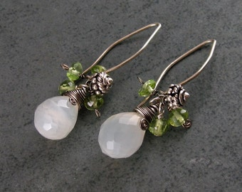 White moonstone & peridot earrings, handmade sterling silver earrings-OOAK