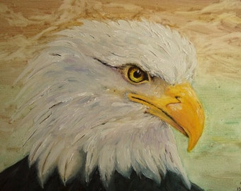 Bald Eagle, Oil Painting, Hand Painted Eagle, American Eagle, Bird Lovers Gift, Bird of Prey
