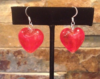 Red Glass Foil Heart Earrings