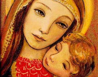 Mother and Child art print, golden color madonna and child, giclee print on professional paper or canvas by Shijun Munns, Spiritual Art,