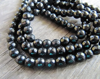 6mm JADE Beads in Black, Faceted, Round, Opaque, Full Strand, 61 Pcs, Gemstones, Black Stone Beads