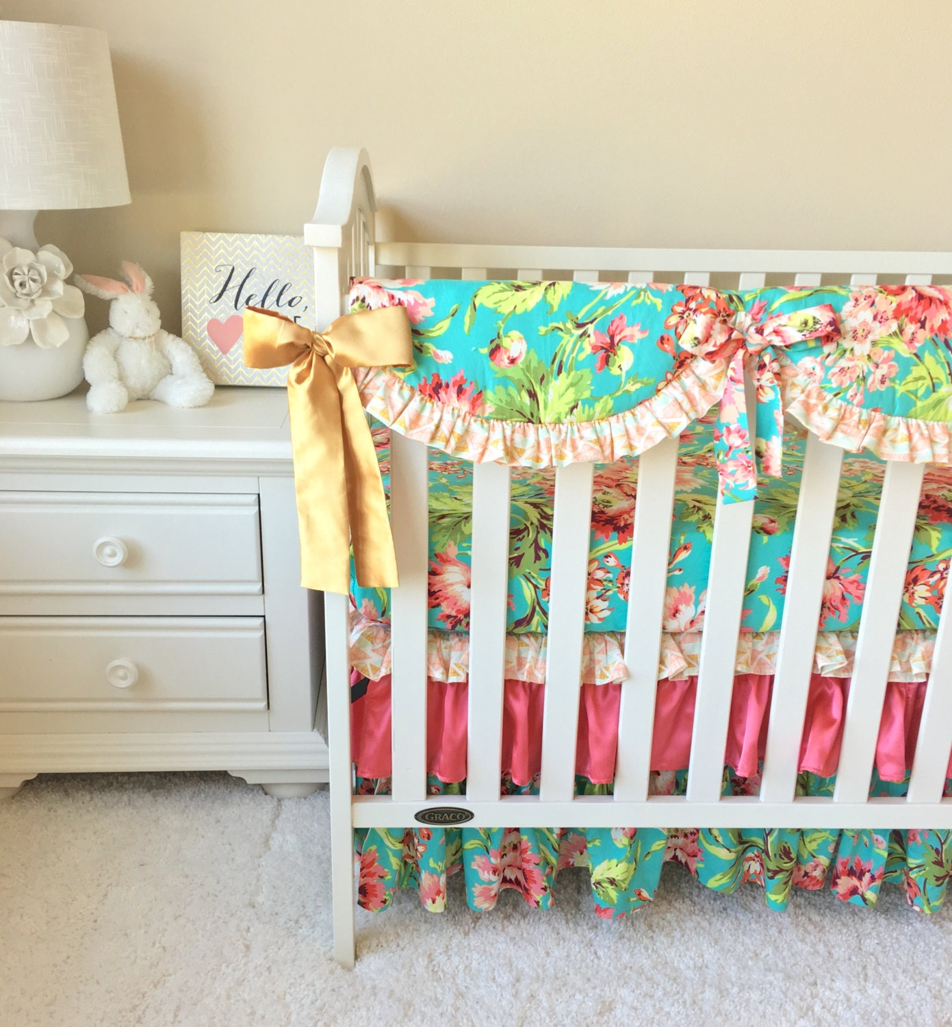 Coral Floral Crib Bedding Coral Baby Bedding Gold Bumperless