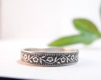 Sterling Silver Wedding Band, Womens Wedding Band, Skinny Wedding Band, Petunia, Floral Wedding Ring, Womens Wedding Ring, Mens Wedding Ring