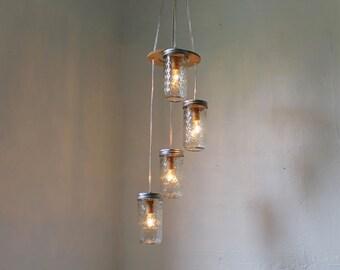 Morning Stars Mason Jar Chandelier - Hanging Mason Jar Lighting Fixture - Mason Jar Pendants Lamp - BootsNGus Modern Home Lights and Decor