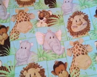 Jungle Babies Giraffe Elephant Lion Monkey Hippo BLUE Fleece Fabric