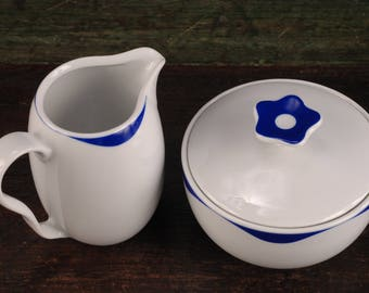 Crate & Barrel Kahla Blue Breeze Creamer and Covered Sugar, Germany